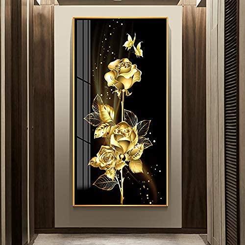 IF.HLMF DIY Rosa Dorada 5D Pintura de Diamante Redondo Bordado de Diamantes de imitación Punto de Cruz Artes artesanía Lienzo decoración de Pared (60X110cm)