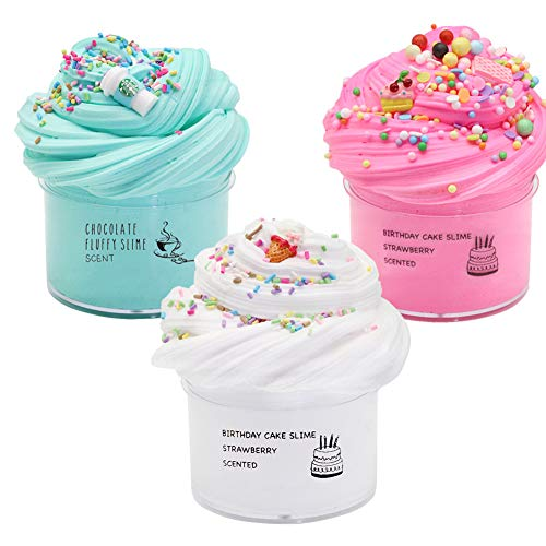 3 Pack Butter Slime Kit, Scented Cloud Slime,Coffee Slime, Ice Cream Slime and Cake Slime, Soft & Non-Sticky Clay, DIY Sludge Toy Gift