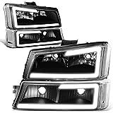 DNA MOTORING Black HL-LB-CSIL03-BK-CL1 3D LED DRL Tube Bar Headlight + Bumper Lamp Set for 03-06 Chevy Silverado