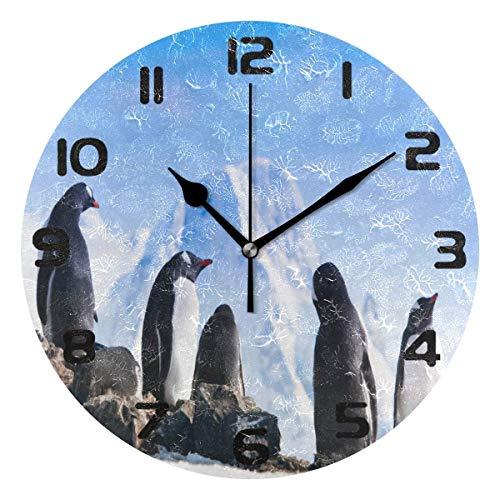 JYSXAD Reloj de pared Antártida lindo animal pingüino silencioso sin garrapatas reloj para dormitorio, sala de estar, decoración del hogar y la oficina moderna