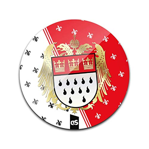 DStern Design Dominus Colonia (rot) Köln-Untersetzer aus stabilem Echtglas | Köln | Cologne | Glas-Untersetzer | Köln-Geschenk Rund: Ø10cm