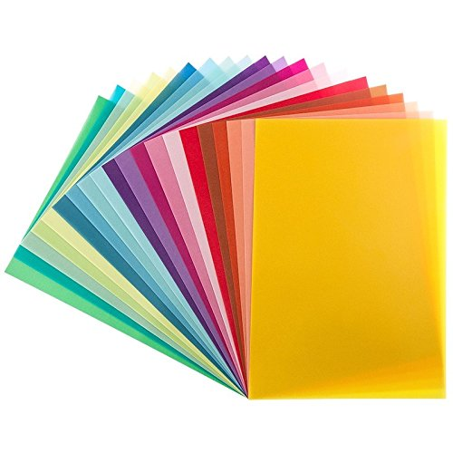 20 Transparentpapiere, DIN A4, 20 Farben, 130 g/m² | buntes Papier zum Basteln, Scrapbooking, Kartengestaltung, DIY u.v.m.