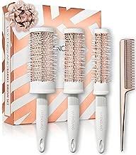 Lily England Round Brush Set - Round Blow Drying Barrel Hairbrush Set & Comb - White & Rose Gold