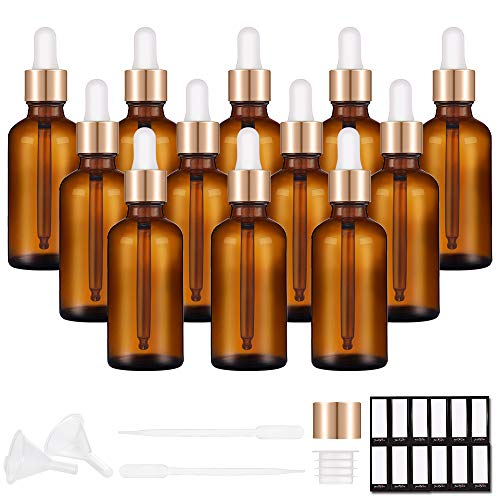 PrettyCare Eye Dropper Bottle 2 oz (12 Pack Amber Glass Bottles 60ml with Golden Caps, 24 Labels, Funnel & Measured Pipettes) Empty Tincture Bottles for Essential Oils