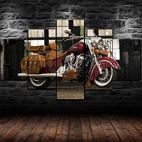 WJWORLD 5 stuks kunstdrukken op canvas modern woonkamer slaapkamer schildersdoek modern modulaire druk Wall Art Motorfiets Indian Retro 30x40cmx2,30x60cmx2,30x80cmx1 Frameloos.