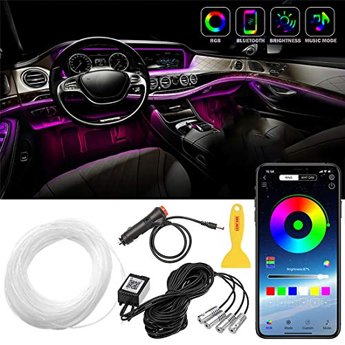 BeBasics Car LED Strip Lights,Multicolor RGB Car Interior Lights, 16 Million Colors 4 in 1 with 157 inches Fiber Optic, Ambient Lighting Kits, Sound Active Function and Wireless Bluetooth APP Control