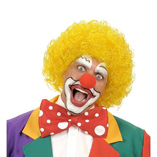 Amakando Cheveux Afro Cirque Perruque rigolote Clown Show tête bouclée Jaune manège fête Anniversaire farceur soirée à thème Accessoire