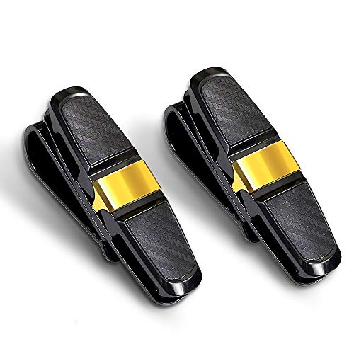 homEdge Clip para Visera Solar, 2 Paquetes de Gafas de Sol para el Coche Visera Solar, Clip para Gafas de Sol para automóvil, Montura para Gafas con Clip para Tarjeta, Dorado
