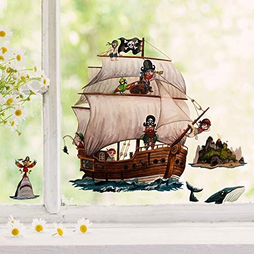 ilka parey wandtattoo-welt Fensterbild Piratenschiff Insel Hai Papagei -wiederverwendbar- Fensterdeko Fensterbilder Deko Dekoration bf69