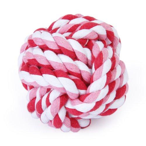 Palla intrecciata di cotone per animali, 9 cm, giocattolo da morsicare, per pulizia denti - colore casuale