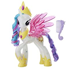 Prepare for the annual Friendship Festival with this royal pony figure with tiara and necklace My Little Pony Princess Celestia figure with a sun-shaped cutie mark can light up and change colors Princess Celestia My Little Pony is the wise and kind r...