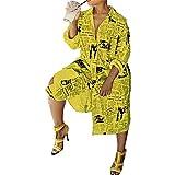 NOBRAND - Vestido de periódico con estampado de un solo pecho para mujer