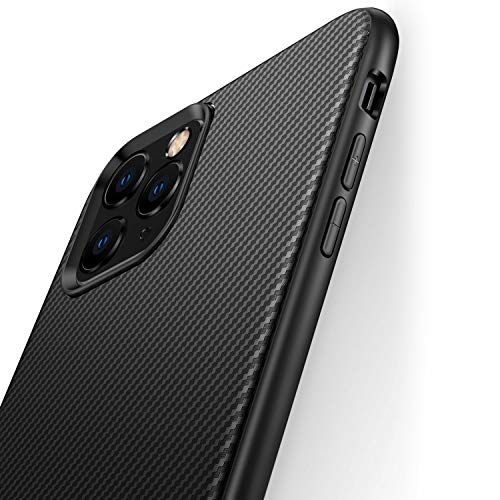 J Jecent Handyhülle für iPhone 11 Pro Hülle, [Kohlefaser Textur-Design] Silikon TPU Schwarz Schutzhülle Hülle Cover Kompatibel mit iPhone 11 Pro - Black