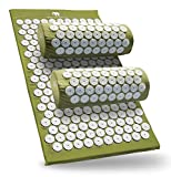 Bed of Nails Original Acupressure Pillow and Mat Bundle, Green