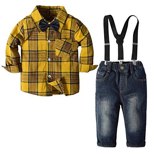 Yilaku Jungen Hochzeitsanzüge Langarm Kariertes Hemd + Fliege + Hosenträger + Hose 4 Stück Set Kleinkind Smart Kleidung (Gelb , 5-6 Jahre)