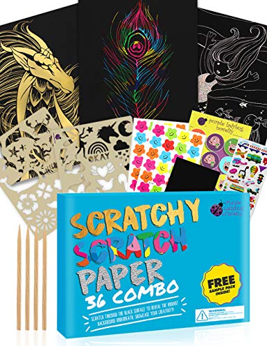 Purple Ladybug Scratch Paper Art Set for Kids! Variety Pack With 36 Full Sized Sheets, 3 Unique Colors: Rainbow, Gold, Silver + Stencils! Great as Gift, Art Supplies, & Travel Activity - Girls & Boys!