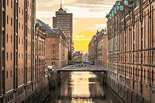 Digitale Malerei Stadtbild von Hamburg Deutschland Landschaftsmalerei Färbung nach Zahlen Digitale handgemalte Leinwandmalerei für Wohnkultur-50x65cm