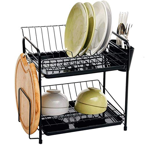 SHYPT Kitchen Dish Rack, 2 Tier Steel Large Dish Drying Rack with Drainboard Set Utensil Holder Dish Drainer, Cutting Board Holder and for Counter