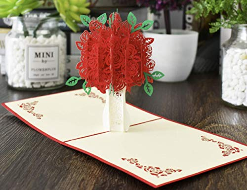 Tarjeta de felicitación 3D con diseño de ramo de flores rojas para cumpleaños, celebración de cumpleaños por Keep Sake