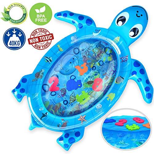 Kaome Wassermatte Baby,aufblasbare Schildkröte Babyspielmatte, große Bäuchlein-Zeit-Matte, auslaufsichere bunte Meerwasser Matte, Babyspielzeug für frühe Entwicklung des Säuglings