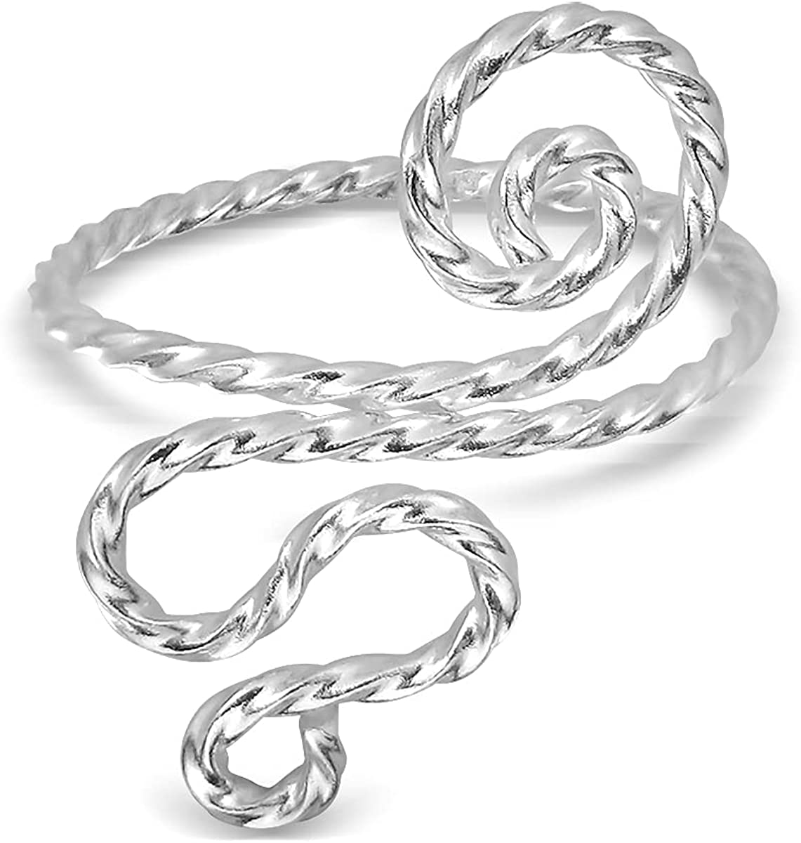 WithLoveSilver Max 47% OFF Outlet sale feature Sterling Silver Spiral Swirls Adjustab Twist Wire