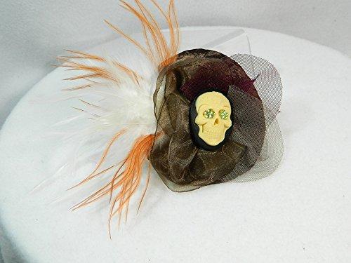kleiner Fascinator braun Gothic Haarspange Haarclip Haarschmuck Headpiece Steampunk Gemme Camee Federn
