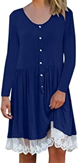Howely Womens Casual Basic Loose Button Down Crew-Neck Pleated Midi Dress