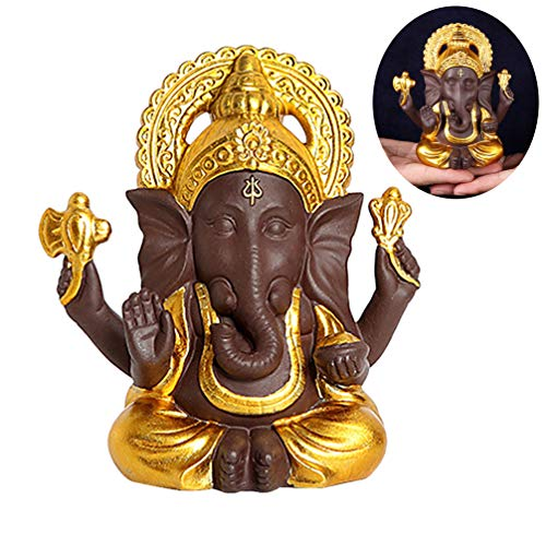 HEALLILY Ganesha Estatua Estatua de Buda Elefante Estatuilla de Cerámica Hecha a Mano para Oficina Dormitorio Hogar