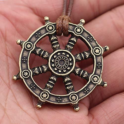 SummarLee 1 buddhistische Reinkarnation Anhänger Dharma Rad des Lebens Schmuck Halskette Schmuck Mode Amulett Männer und Frauen,Messing
