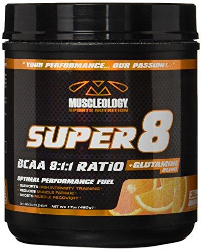 Muscleology Sports Nutrition Super 8 BCAA 8:1:1 Ratio + Glutamine Blend,Orange,30 Servings