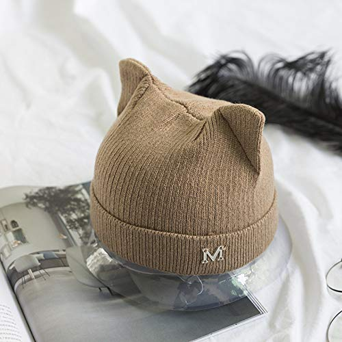 mlpnko Gorro de Punto Lindo Oreja de Gato Sombrero de Lana Carta de Hierro Juego de Tejer Cabeza Pareja Caliente Camello M (56-58cm)