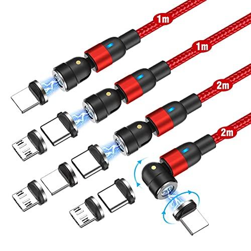 Melonboy - Cable magnético de carga rápida y sincronización, 4 unidades, 1 m + 1 m + 2 m + 2 m), color rojo