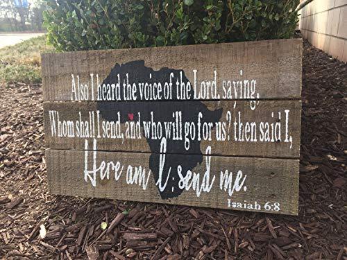 43LenaJon Hier ben ik, Heer, stuur me houten teken, rustieke boerderij teken, ministerie teken  inspirerende missionaris teken