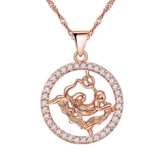 Uloveido Aquarius Constellation Circle Halskette Rose Gold plattiert Zirkonia 12 Sternzeichen Anhänger Schmuck Halskette 20. Januar bis 18. Februar Geburtstag Schmuck Halskette Geschenk N1047