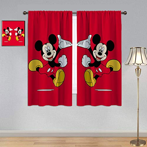 ARYAGO Verdunkelungsvorhänge, Micky-Maus-Vorhänge, roter Fenstervorhang, Stoff für Jungen-Schlafzimmer, 107,7 x 183,9 cm