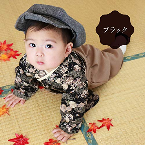 SweetMommy袴ロンパースベビー着物カバーオール日本製和柄ちりめんブラック80