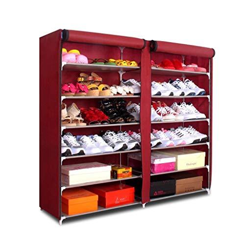 Zapateros Rack de Zapatos Simple de 7 Pisos Rack de Zapatos Multiuso de Gran Capacidad Corredor Sala de Estar Estante de Almacenamiento en el hogar Armario Organizador (Color : Red)