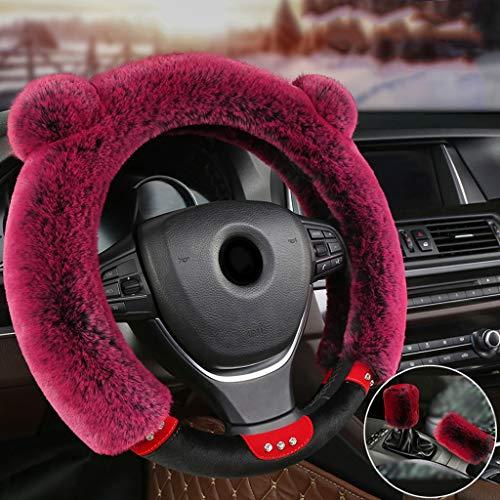Steering Wheel Cover Winter Pluche Mannen En Vrouwen Leuke Universele Warm Antislip Auto Handvat Driedelige pak Wijn Rood