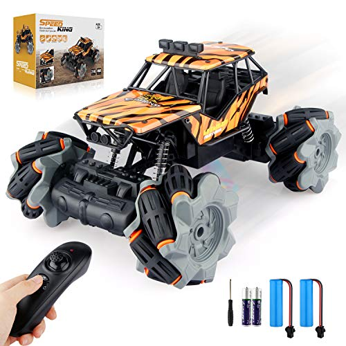 Growsly Remote Control Car, High Speed RC Car for Kids Adults 1:18 Scale 2.4 GHz Off Road RC Truck Racing Monster Vehicle with 4 Batteries , Electric Toy Car for Boys & Girls Gifts