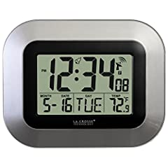 Atomic all clock with self-setting time and date, indoor temp, alarm. Please note: Product has ONLY indoor temperature, NOT outdoor temperature. Automatically updates for seasonal time changes where applicable Clock with alarm and snooze; time with s...