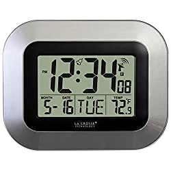 La Crosse Technology WT-8005U-S Atomic Digital Wall Clock with Indoor Temperature, Silver, 9 by 1 by 7.2 inches