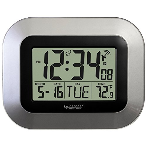 La Crosse Technology WT-8005U-S Atomic Digital Wall Clock with Indoor