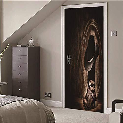 Deur Sticker muurschildering 3D Cowboylaarzen hoed voor slaapkamer badkamer Ep zelfklevende Pvc muurstickers, 77X200 Cm