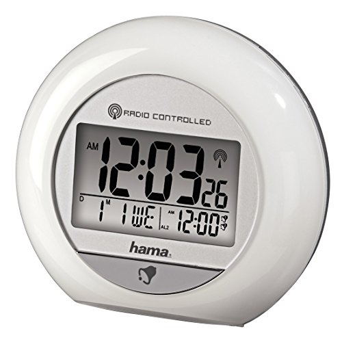 Hama Funkwecker RC 600 (mit zwei Weckzeiten, Thermometer, Datum und Bewegungssensor) weiß