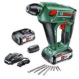 Bosch UneoMaxx - Martillo perforador a batería (2 baterías 18V, cargador, adaptador de vástago...