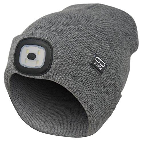 Mütze-Beanie Farbe grau, 2. Generation mit besserem Halt des LED Licht, USB-Rechargeable, OneSize, 3 Helligkeitsstufen, 1 Blinkmodus, waschbar, Lampe entnehmbar   Marken Qualität von Gorilla