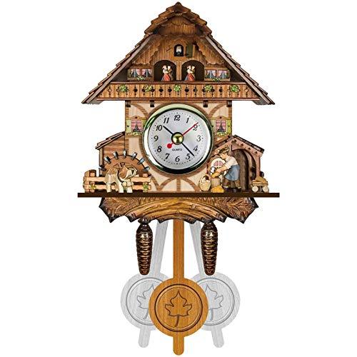 BCBKD Reloj De Cuco, Reloj De Cuco Alemán De La Selva Negra MDF Reloj De Pared Decorativo De Madera Antiguo Colgante Auto Swing Bell Péndulo Decoración del Hogar Reloj Regalos para Niños F,26x14x6cm