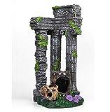 JONJUMP Acuario Columna Romana Decoración Edificio Ruina con 3 Barels Fish Tank Grecia Templo Ornamento Cueva Escondida