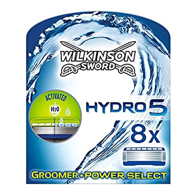 Wilkinson Sword Hydro 5 Groomer & Power Select Men's Razor Blades Refills x8 by Wilkinson Sword
