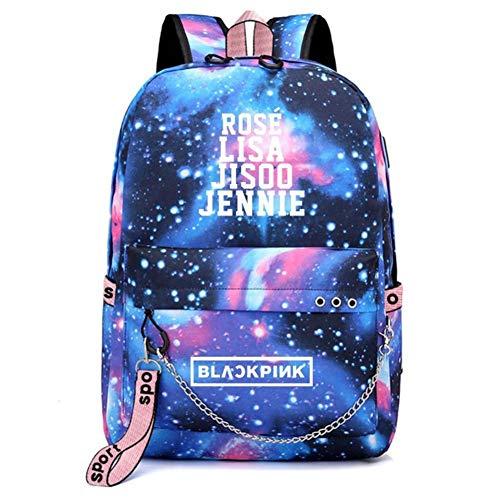 zhongjiany KPOP Blackpink Mochila de Carga USB Lisa Rose Jisoo Jennie Travel Laptop School Bag(Blue)